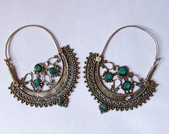 Ethnic afghan hoop silver earrings
