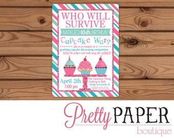 Cupcake Birthday Invitation // Cupcake Wars // Our Little Cupcake - Digital or Printed