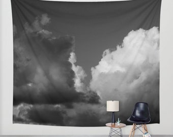 Wall tapestry sky clouds storm tapestry black and white tapestry 51x60 tapestry 68x80 tapestry 88x104 tapestry