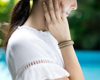 Beaded Bracelet- White Grey Brown Bracelet- Brass Bracelet - Unisex Bracelet-B-12