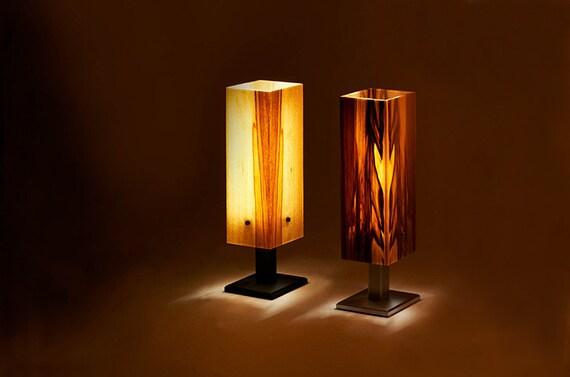 tischleuchte tischlampe holz furnier led brennholz design. Black Bedroom Furniture Sets. Home Design Ideas