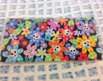 Handmade Flower Skulls Checkbook cover