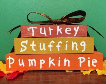 Turkey, Stuffing, Pumpkin Pie Stacking Blocks