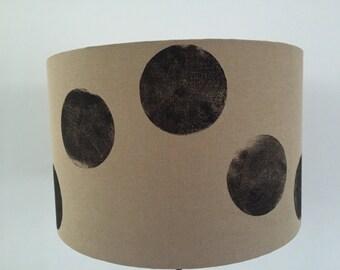 Hand printed Brown lamp shade with black circle print.