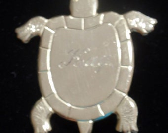 Engraved Turtle Brooch