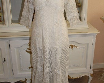 Vtg 1910s Antique  White Sheer Cotton LAWN & LACE Afternoon Bridal Dress w Tucks Wedding