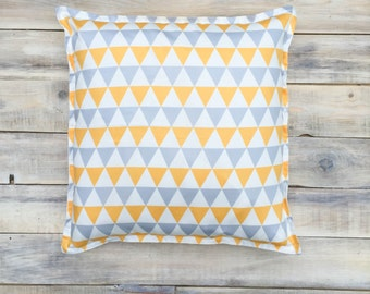 Triangles Pillow with Cotton Cover 40x40 cm