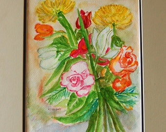 Bring Me Home original watercolor painting by Miao Yeh, 24x18, floral, portion of proceed supports Parkinson's research.