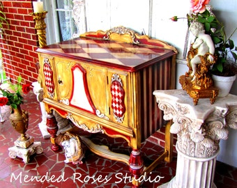 Amazing hand painted buffet/server art furniture annie sloan chalk paint antiqued distressed one of a kind custom piece