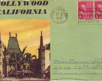 Vintage Stamped Post Card Souvenir Booklet of Hollywood California. 1954