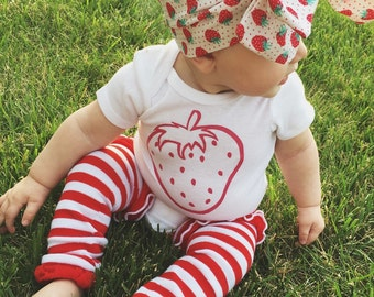 Strawberry Outfit, legwarmers, bow & onesie or shirt