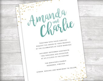 Mint and Gold Watercolor Wedding Invitation, Details and RSVP Printable
