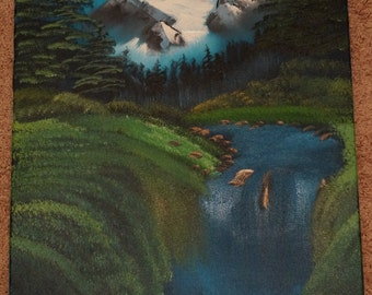 Bob Ross Style Original - Valley Waterfall