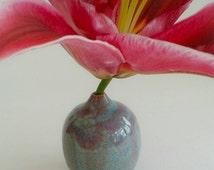 Ceramic Bud Vase, Single Stem Flower Vase, Miniature, Blue and Purple, wheelthrown, unique gift, studio pottery, artisan, 4.5cm W x 5 cm H