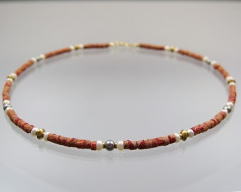 Coral necklace beads handmade gold lock 585 / - unique forged master work