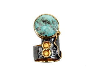 Round Turquoise Ring. 925 sterling silver w 18k  gold plated