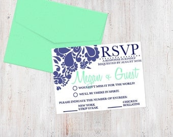 Response Card - Pretty in Paisley {Customized Printable RSVP Cards)