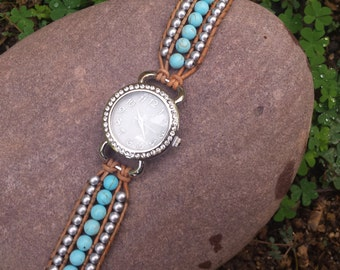 Turquoise and Silver beaded watch