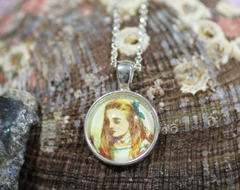 Alice, Vintage Alice in Wonderland, Handmade Round Glass Tile-in-Tray Pendant Necklace
