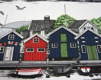 cotton fabric canvas houses fiord Smögen Arvidssons