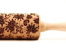 Boho-chic Style, Embossed rolling pin, Engraved rolling pin, Wooden Rolling pin