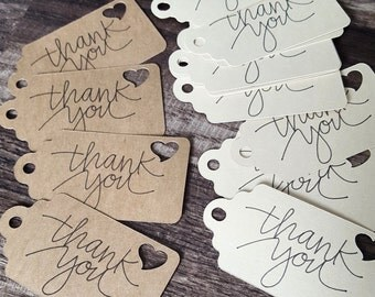 Heart Cut Out Thank You Tags (Set of 25)