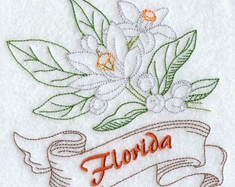 Florida Orange Blossom State Flower Embroidered on a Flour Sack Towel Hand towel Dish Towel
