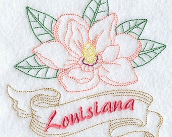 Louisiana Magnolia State Flower Embroidered on a Flour Sack Towel