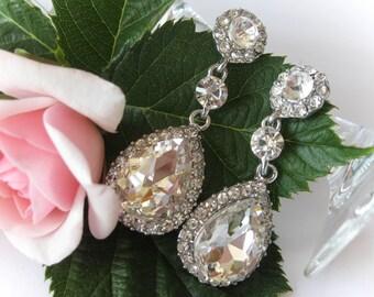 Swarovski Crystal Bridal Chandelier Drop Earrings, Wedding Earrings, Bridal Jewelry, Bridesmaid Jewelry, Bridesmaids Jewelry, Bride Earrings