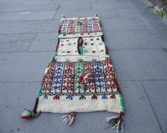 Vintage Turkish brocaded saddle-bag,decorative rug,45'' x 16'' inches