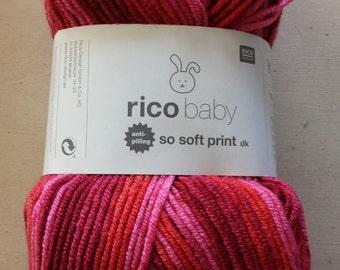 Rico Baby So Soft Print DK Yarn Fuchsia 005