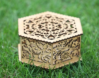 Wooden hexagon box with flowers (natural color) - a wonderful gift for special person. Free shipping.