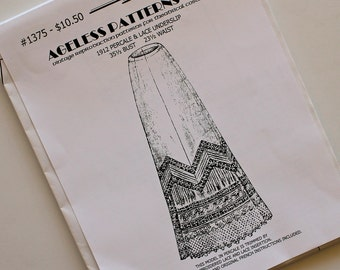 Vintage Reproduction Petticoat PATTERN...Pretty Lace Trimmed Underslip...Ageless patterns...Edwardian