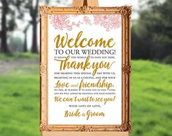 Wedding welcome sign - wedding thank you sign - PRINTABLE - 16x20 - 18x24 - 20x30 - 24x36