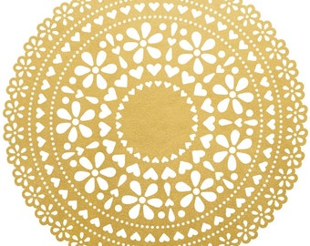 """A Touch Of Gold Die-Cut Cardstock 12""""X12""""-Foil Doily"""