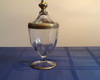 Gold trimmed candy dish with lid