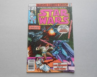 Star Wars #6 comic, Luke Skywalker vs Darth Vader, 1st print, Marvel 1977