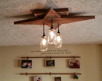 Reclaimed Wood Lighting | Star Shape Mason Jar Chandelier | Flush mount or hanging mount farmhouse lighting fixture