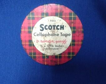 Vintage Scotch Brand Cellophane Tape Tin Retro 1960s