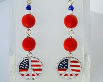 Patriotic Peace Sign Earrings