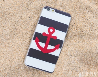 iPhone 6/6s Case - Anchor - Navy, White, Red - Nautical, Ocean, Sea, Anchor, Art, Design, Minimal, Hipster, Stripes, Lines, Boats, Ships, SS
