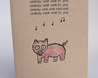 Greeting Card - Pig birthday song