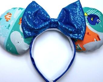 Finding Dory Mouse Ears Handmade - Finding Nemo Mouse Ears - Dory Mouse Ears - Disney Ears - Mickey Ears - Ear Headband - Finding Dory
