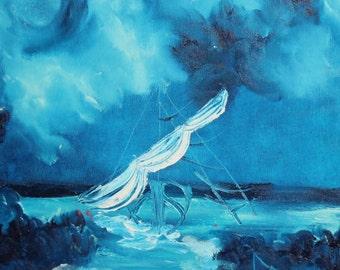 Expressionist seascape bridge oil painting