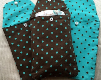 Diapers and wipes clutch, Brown and Aqua, Polka dot