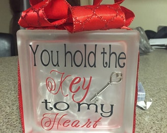 Key to my heart glass block