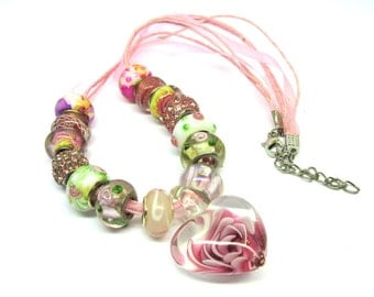 Pink Glass Rose Pendant Necklace Beads Rhinestone Murano Lampwork Choker 100D