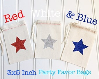 Patriotic Red White And Blue Glittered Star Party Favor Bags