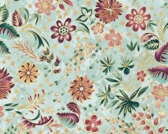 Peggy Toole - Lumina 2- APTM15916208 Dawn robert kaufman quilting cotton brown natural taupe metallic accents 2016 aqua floral flowers