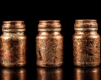 Storage Jars, Metal leaf on Glass, Gold, Silver, Blue, Red, Unique, hand decorated, designer Storage Jars